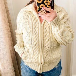 Vintage Cable Knit Grandpa Sweater Jacket Sz L